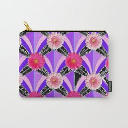 Pink & Fuchsia Purple Art Deco Floral Art Carry-All Pouch