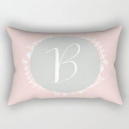 Garland Initial B - Grey Rectangular Pillow