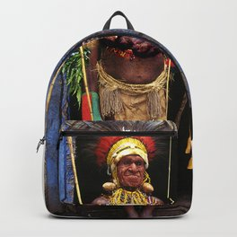 Papua New Guinea Chief in Hut Doorway Backpack