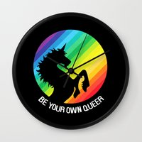 queer Wall Clocks featuring Be Your Own Queer by Berberism