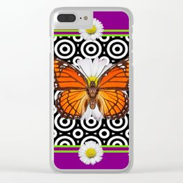 Purple Monarch Butterfly Shasta Daises Decor Art Clear iPhone Case
