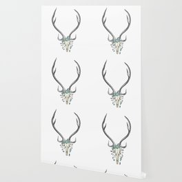 Floral Stag Skull Wallpaper