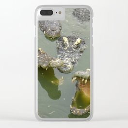 Crocodiles in river Clear iPhone Case