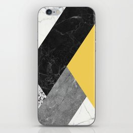 Black and White Marbles and Pantone Primrose Yellow Color iPhone Skin