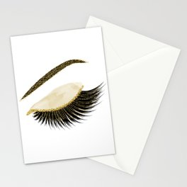 Glittery gold  lashes Stationery Cards