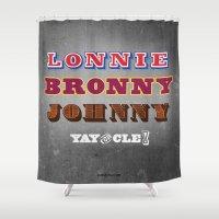 lebron Shower Curtains featuring Lonnie, Bronny, Johnny by Melissa Olson