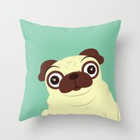 pug Throw Pillows featuring Pug by Hoborobo