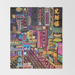 HK Neon Lights Throw Blanket