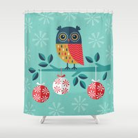 christmas Shower Curtains featuring WOOHOO IT'S CHRISTMAS! by Daisy Beatrice