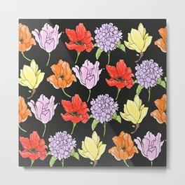dark crowded floral Metal Print