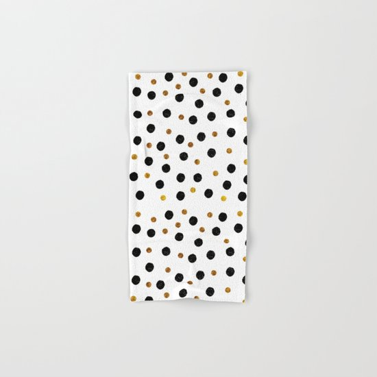 Black & Gold Glitter Confetti on white backround- Elegant pattern Hand & Bath Towel