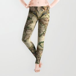 Old map of world (both hemispheres) Leggings