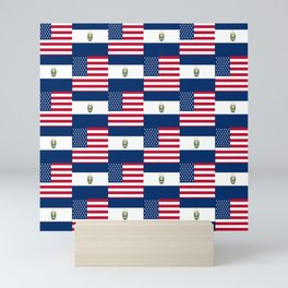 Mix of flag:  Usa and Salvador Mini Art Print