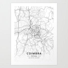 Coimbra, Portugal - Light Map Art Print