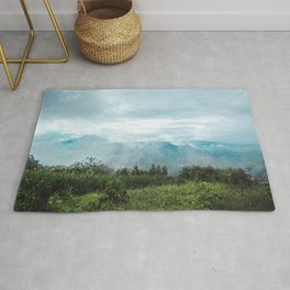 Lush green and blue views over the mountain range and valleys of Guatemala Rug