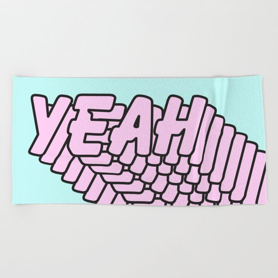 YEAH Typography Pink Blue Beach Towel