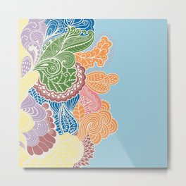 Colored Paislies Metal Print