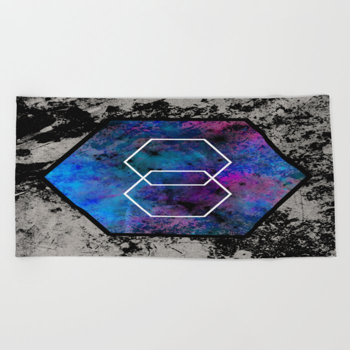 TEXtured HEX - Abstract, geometric, textured artwork Beach Towel