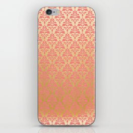 Modern chic coral faux gold floral elegant damask iPhone Skin