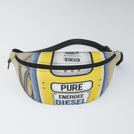 Retro Gas Pump in Navy Blue and Canary Yellow Fanny Pack