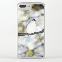 tufted titmouse - bokeh Clear iPhone Case