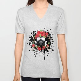 Gas Mask with Red Roses Unisex V-Neck