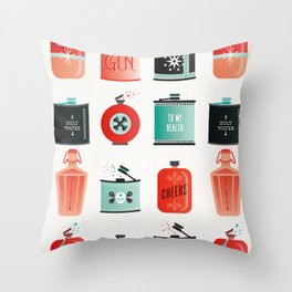 Flask Collection – Red & Turquoise Palette Throw Pillow