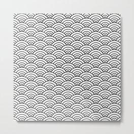 Seigaiha black and white japanese waves Metal Print