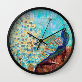 Peacock Paparazzi, peacock mixed media collage painting Wall Clock