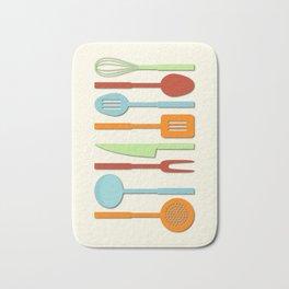 Kitchen Utensil Colored Silhouettes on Cream II Bath Mat