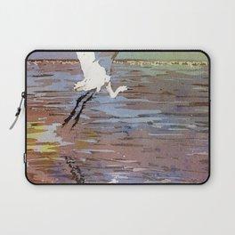 Jamaican crane flying over water in Montego Bay.  Watercolor painting crane art bird Jamaica Laptop Sleeve