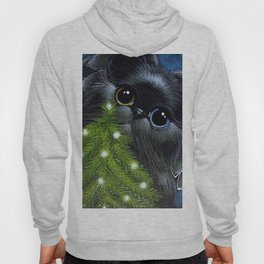 HOLIDAY BLACK PERSIAN ANGEL CAT ODD EYES - 1ST CHRISTMAS TREE Hoody