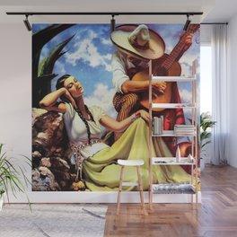 Love and Spanish Guitar (tocaores) in the Sonoran Desert, Señorita romantic portrait painting Wall Mural