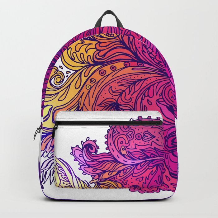 Purple Floral Indian Pattern Backpack