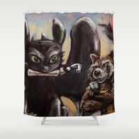 hiccup Shower Curtains featuring I'm Gonna Need That Guy's Leg! by Wesley S Abney