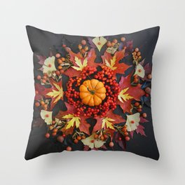 Nature Mandala: October Throw Pillow