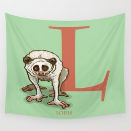 L is for Loris: Under Appreciated Animals™ ABC nursery decor sea green unusual animals Wall Tapestry