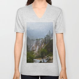 waterfall #society6 Unisex V-Neck