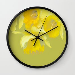 Sign of Spring - Yellow Narcissus on Spring Green Background #decor #society6 #buyart Wall Clock