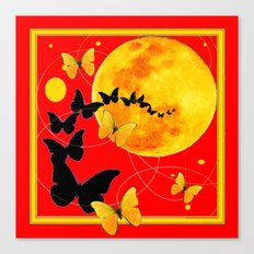 Butterfly Moon in Red Color Art Canvas Print