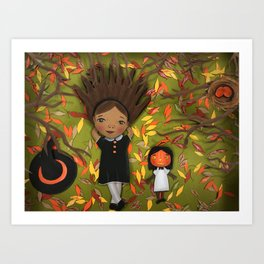Little Fall Witch Art Print