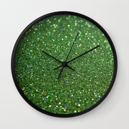 Green sparkle glitter effect background for girlies on #Society6 Wall Clock