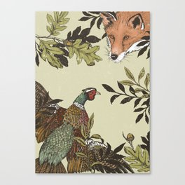 Fox & Pheasant Canvas Print
