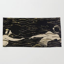 Mermaid illustration from The Craftsman - 1906-1907 Beach Towel