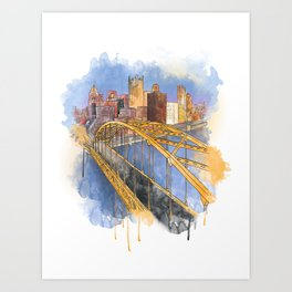 Pittsburgh Fort Pitt and Downtown Art Print
