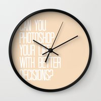 parks and rec Wall Clocks featuring PARKS AND REC PHOTOSHOP YOUR LIFE WITH BETTER DECISIONS, JERRY by comesatyoufast
