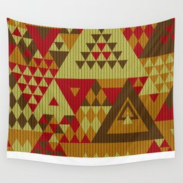 triangles-brown-red-orange-KNIT Wall Tapestry