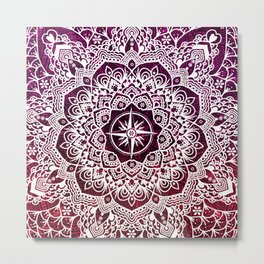 Voyaging Spirit Purple Red Mandala Metal Print