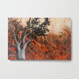 Red Abstract Landscape - orange red print  Metal Print