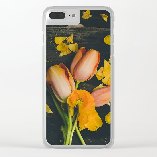 Spring Tulip Flowers Clear iPhone Case